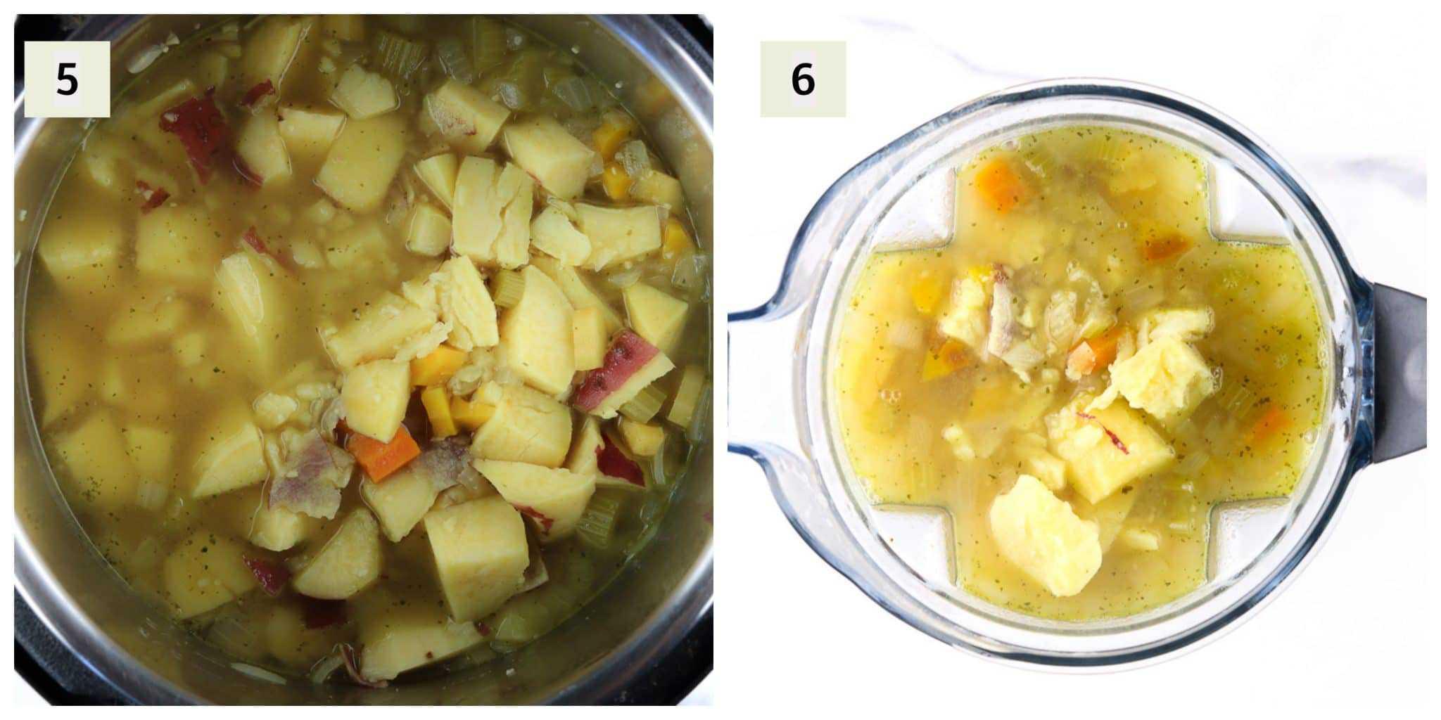 Process shots to make soup.