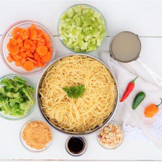 Vegetable Spaghetti Stir Fry with Spicy Peanut Sauce