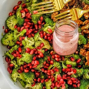Broccoli Salad with Pomegranate Arils & Maple Walnuts- Vegan & Gluten Free @shawsimpleswaps
