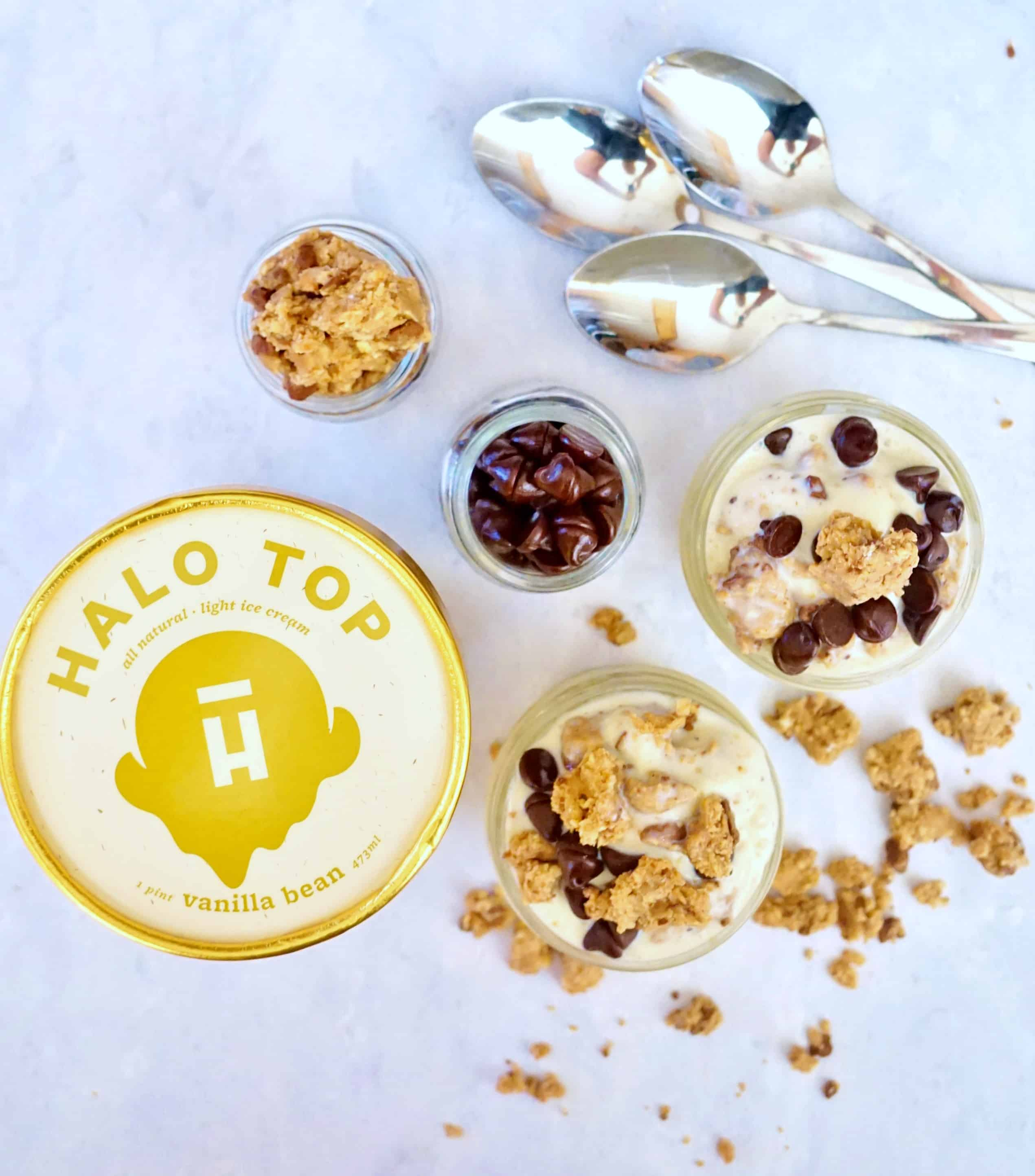 Chocolate Chip Cookie Dough Ice Cream w/ Halo Top- Healthy, GF