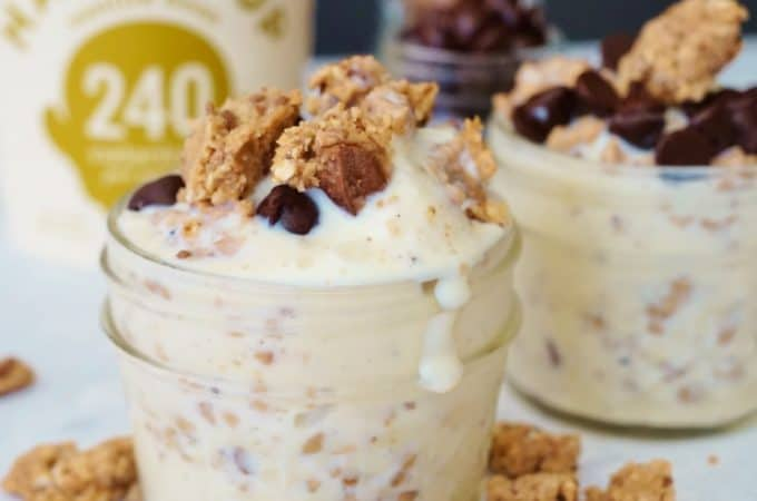 Chocolate Chip Cookie Dough Ice Cream Blizzard - A healthy, low calorie treat to enjoy all year long! GF, Soy Free, Nut Free- @shawsimpleswaps #HaloTop #ad