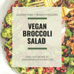 Vegan Broccoli Salad - A healthy, filling way to celebrate the holidays for all! Made with minimal all-natural ingredients and is naturally gluten free! Ready in under 10 minutes! #glutenfreesalads #veganbroccolisalad