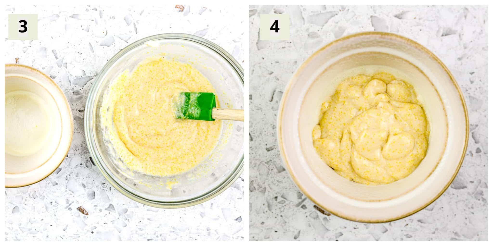 Process shots to make cornbread.