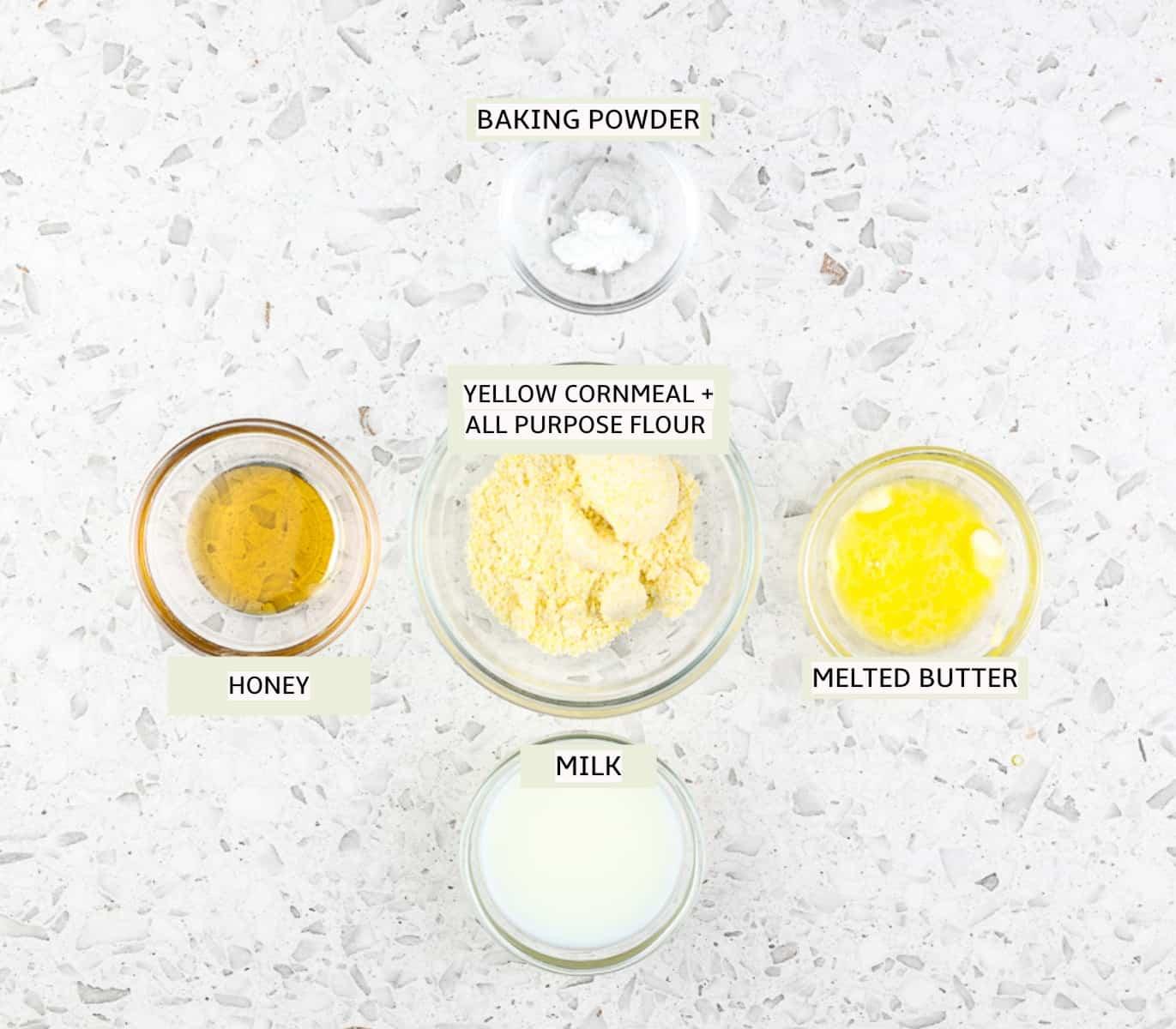 Ingredients to make cornbread.