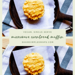 Single-Serving Microwave Cornbread Muffin - ready in 90 seconds! This recipe is made with a cornmeal flour, applesauce, and oil! It's 100% vegan and the perfect snack or side with chili or soup. #cornbreadmuffin #singleservesnacks #singleservingrecipes
