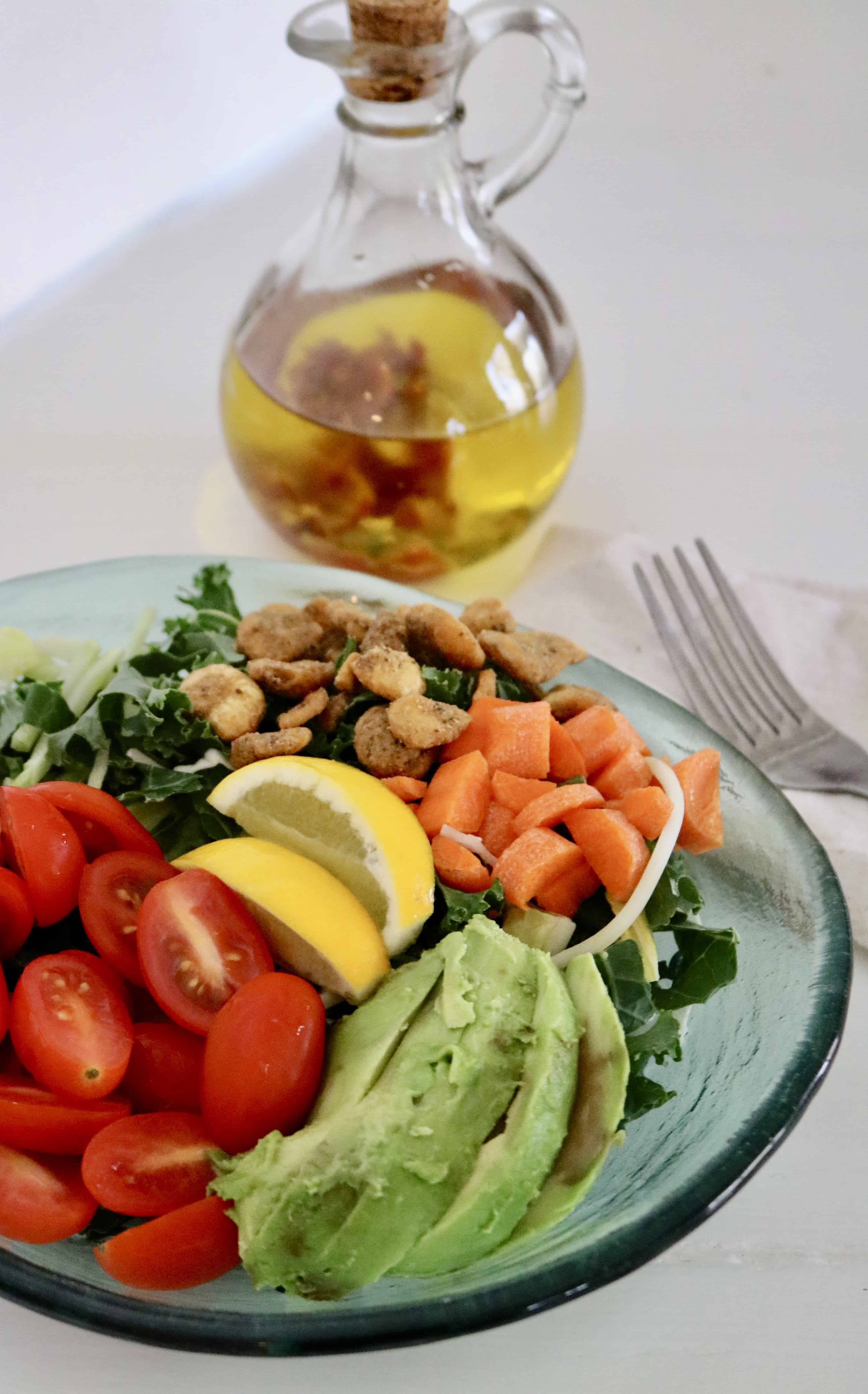 Green Goddess Salad with Chili Infused Olive Oil- Vegan and gluten free, under $3 a serving! @shawsimpleswaps