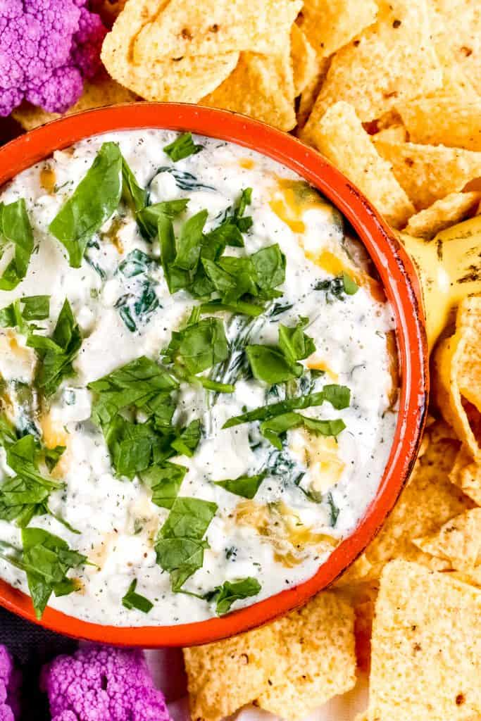 Vertical image of plated spinach dip.