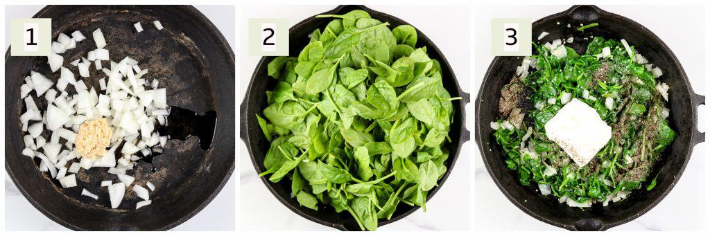 Image of process steps to make spinach dip.