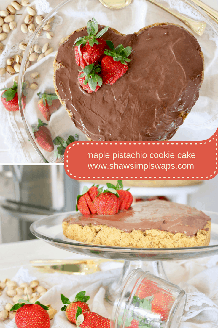 Maple Pistachio Cookie Cake with Chocolate Frosting -Low Sugar @shawsimpleswaps