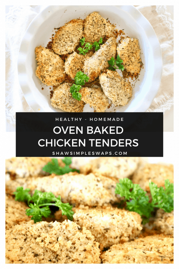 Oven Baked Chicken Tenders - a healthy alternative to your favorite fast food fried chicken! Easy to make with simple ingredients you likely have on hand, too! Recipe modifications to fit a gluten free, keto and whole 30 diet with instructions to make in the air fryer too. #healthyfriedchicken #airfriedchicken #chickentenderrecipe