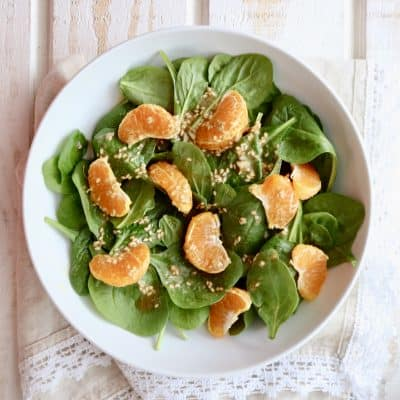 Sweet and Spicy Sesame Dressing with a Spinach Salad & Clementines