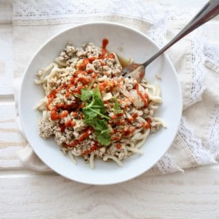 Sriracha Sesame Udon Noodles with Ground Turkey