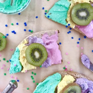 Unicorn Toast on  Flatout® Flatbread – A Family Friendly Twist on Dessert Pizza!