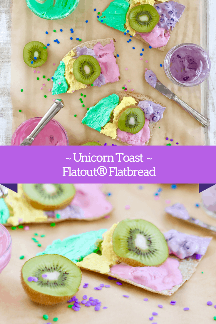Unicorn Toast on Flatout® Flatbread - A Family Friendly Twist on Dessert Pizza! @shawsimpleswaps