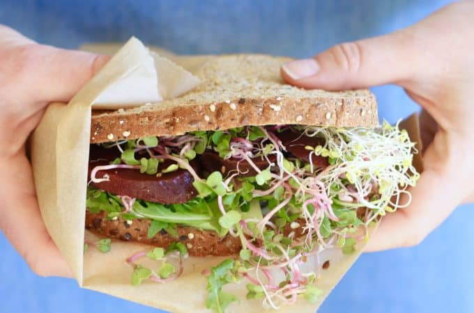 Deluxe Veggie Sandwich with Goat Cheese & Pickled Beets @shawsimpleswaps
