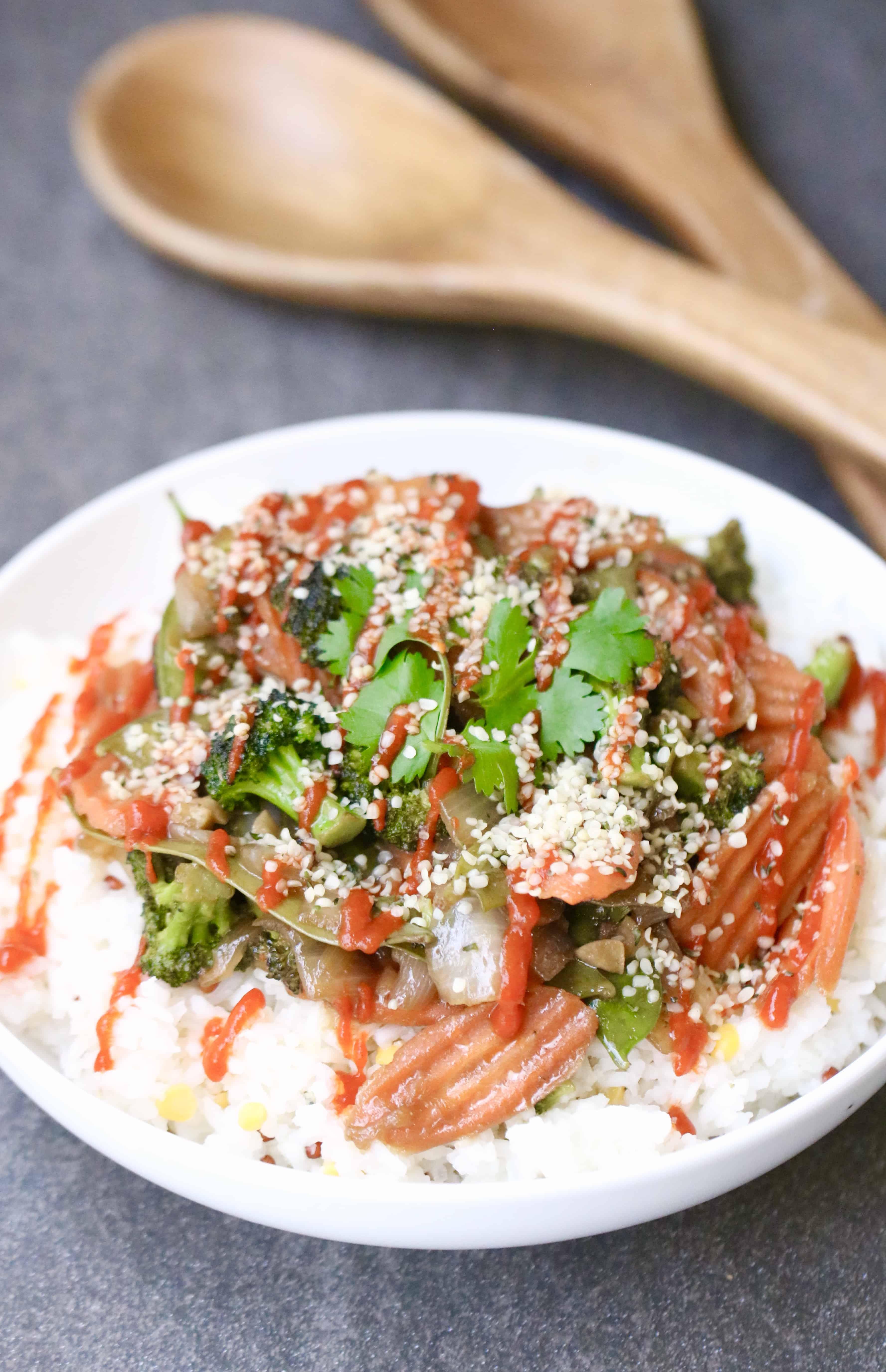 Stir Fry Vegetables with Basmati Rice + Easy Ways to Reduce Food Waste @shawsimpleswaps