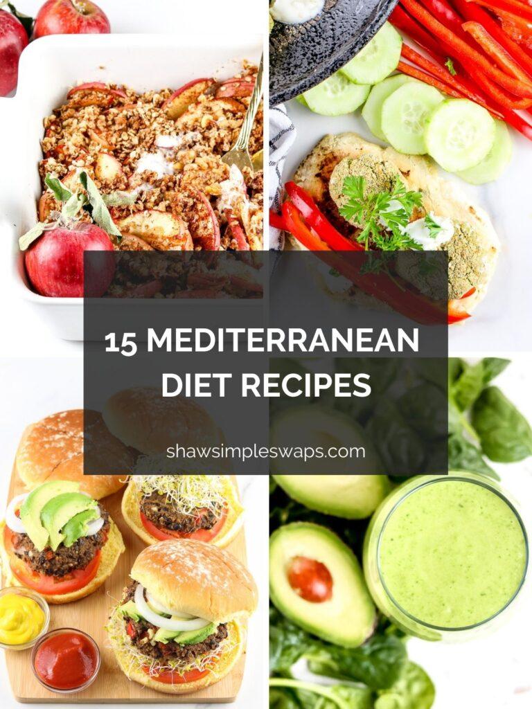Four image collage featuring Mediterranean recipes