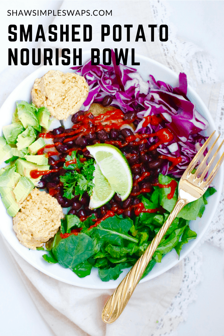 Smashed Baked Potato Nourish Bowl - Vegan + Gluten Free @shawsimpleswaps