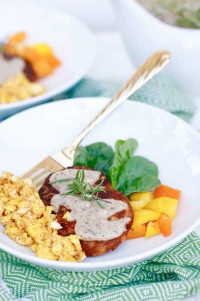 Rosemary Country Gravy Hashbrowns with Turmeric Eggs - Gluten Free, Vegetarian Friendly @shawsimpleswaps