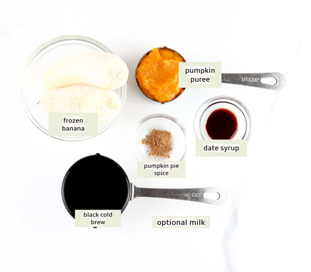 Ingredients to make frozen PSL.