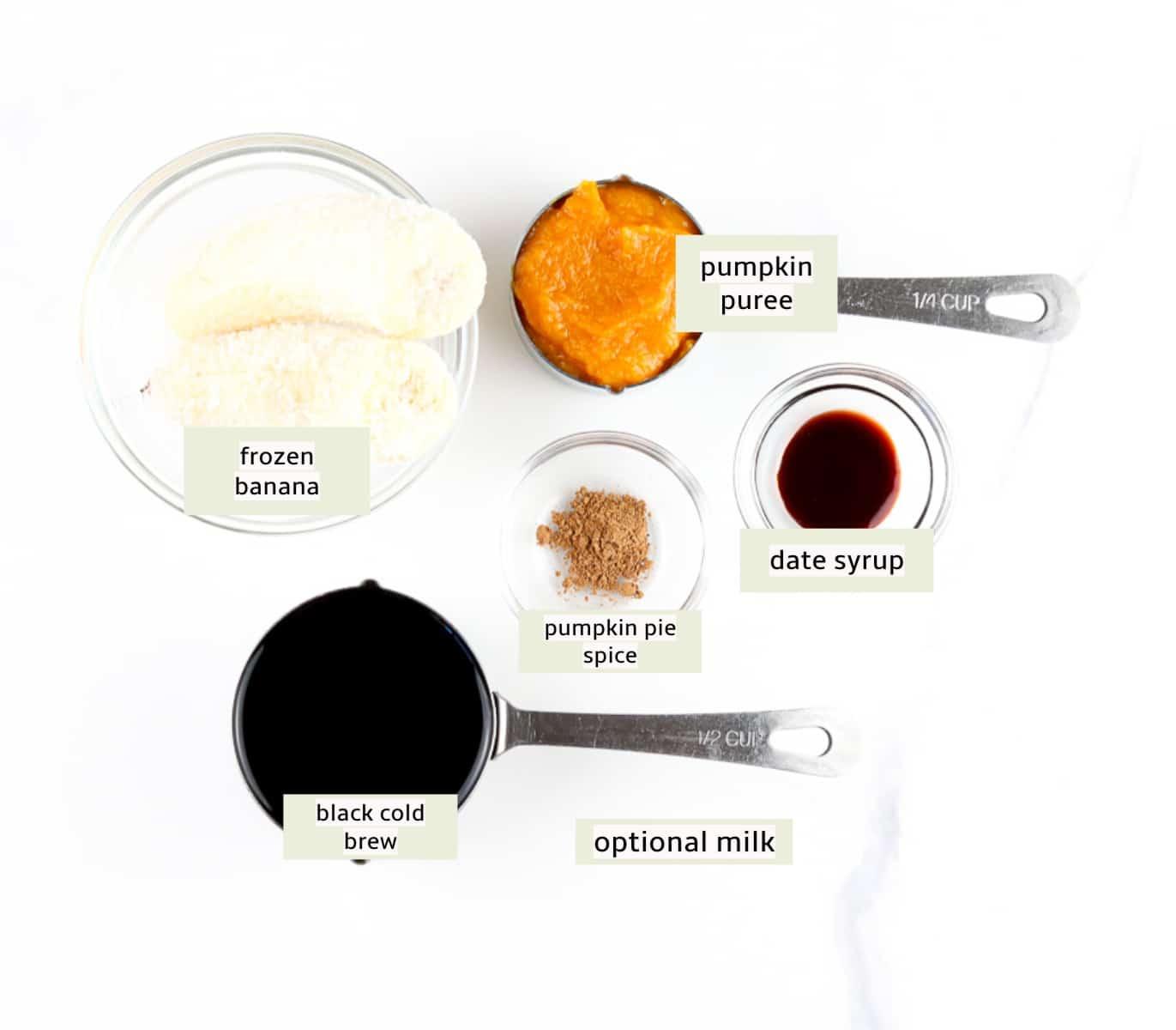 Ingredients to make frozen PSL.