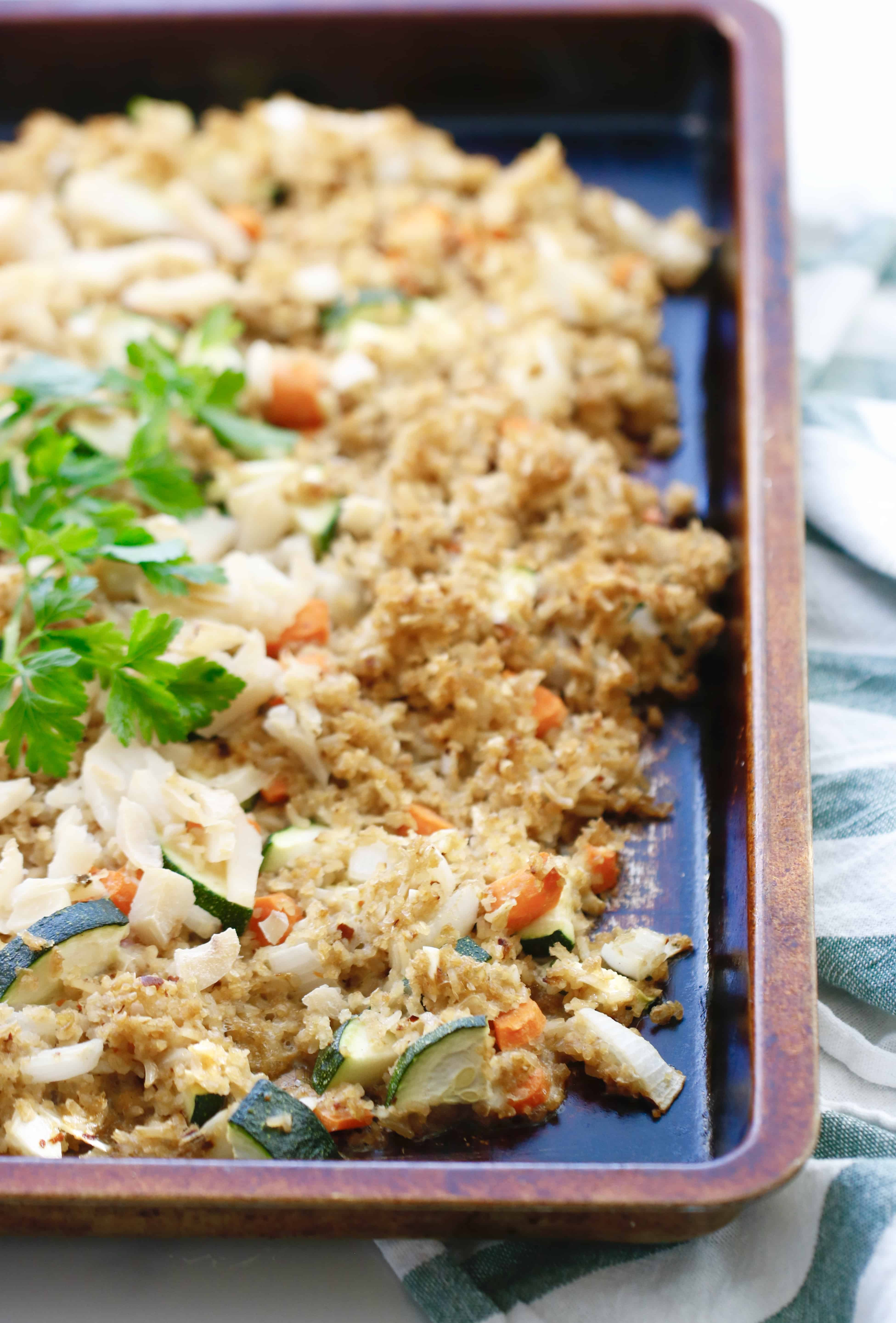 Baked Fried Rice with Veggies - Gluten Free + Vegetarian