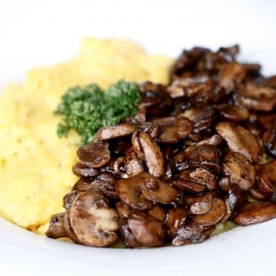 Creamy Parmesan Polenta with Balsamic Mushrooms