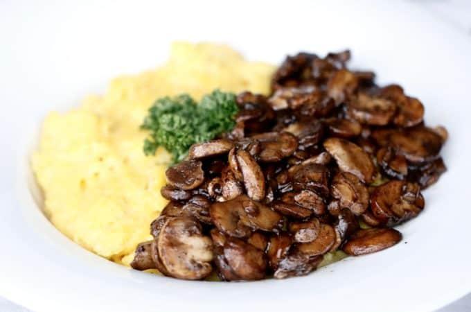 Creamy Parmesan Polenta with Balsamic Mushrooms @shawsimpleswaps