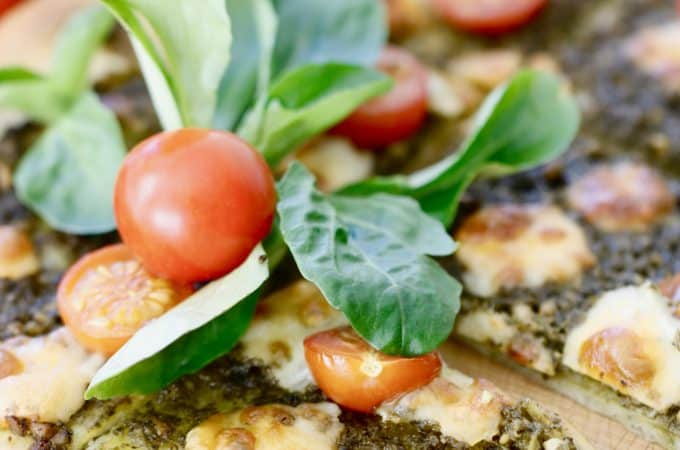 Asiago Pesto Pizza with Broiled Tomatoes - Vegetarian, Gluten Free Option @shawsimpleswaps