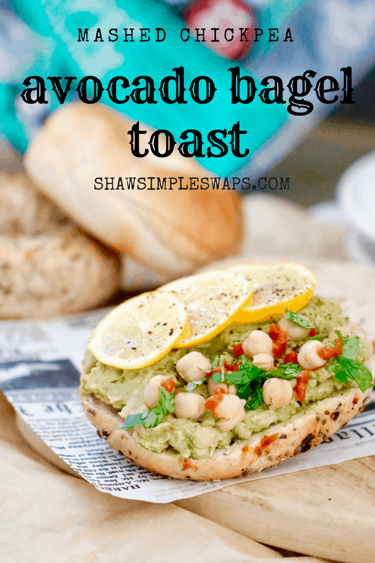 Mashed Chickpea Avocado Bagel Toast + How to Stick To Your Resolutions @shawsimpleswaps