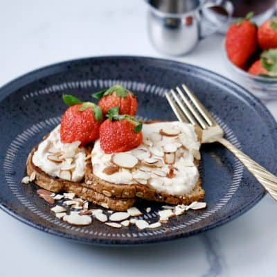 Peanut Butter French Toast with a Thick and Creamy Maple Yogurt Frosting
