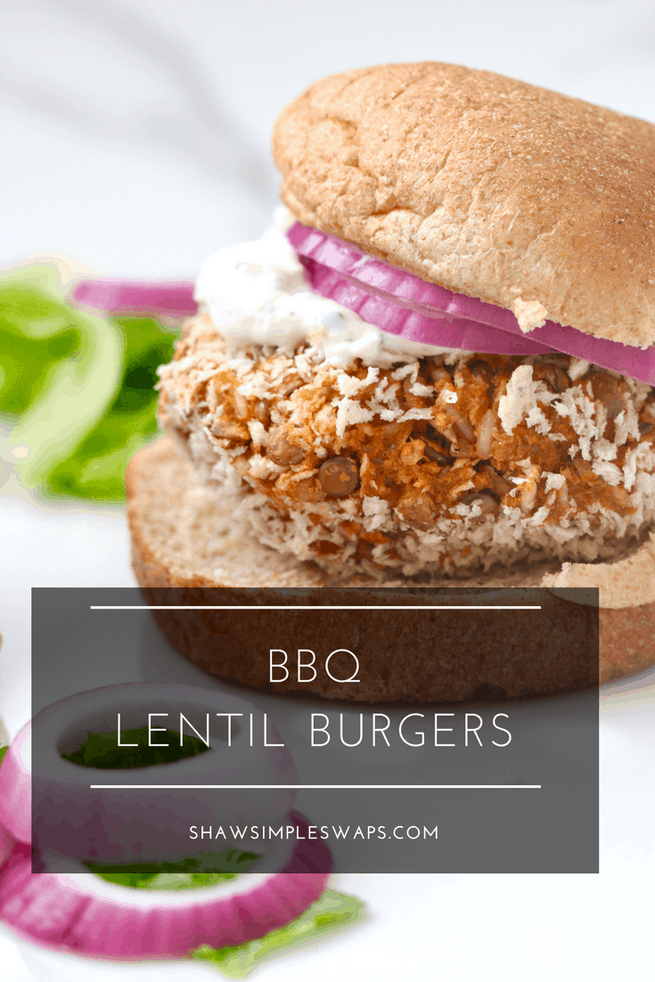 BBQ Lentil Burgers with Ranch Dressing - Gluten Free Option @shawsimpleswaps
