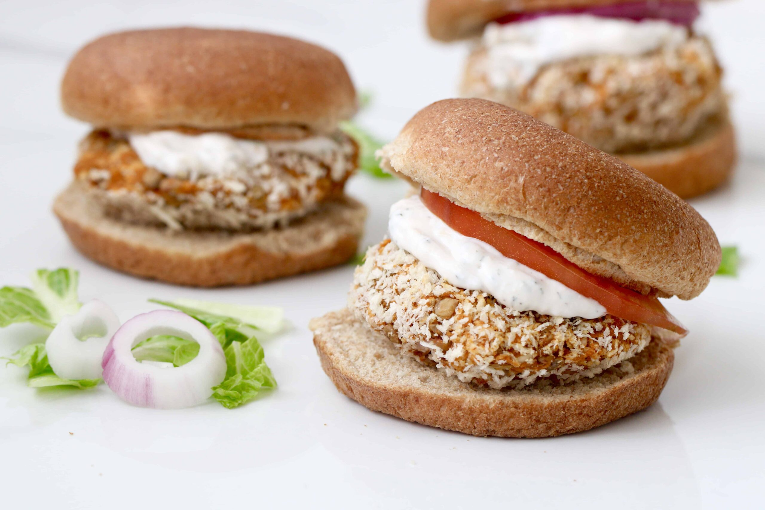 Bbq Lentil Burgers With Ranch Dressing Gluten Free Option