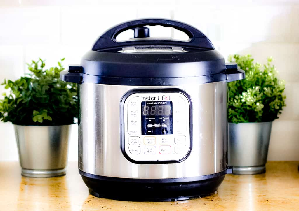 Picture of silver instant pot with black lid on brown countertop with two green plants in silver pots on each side.