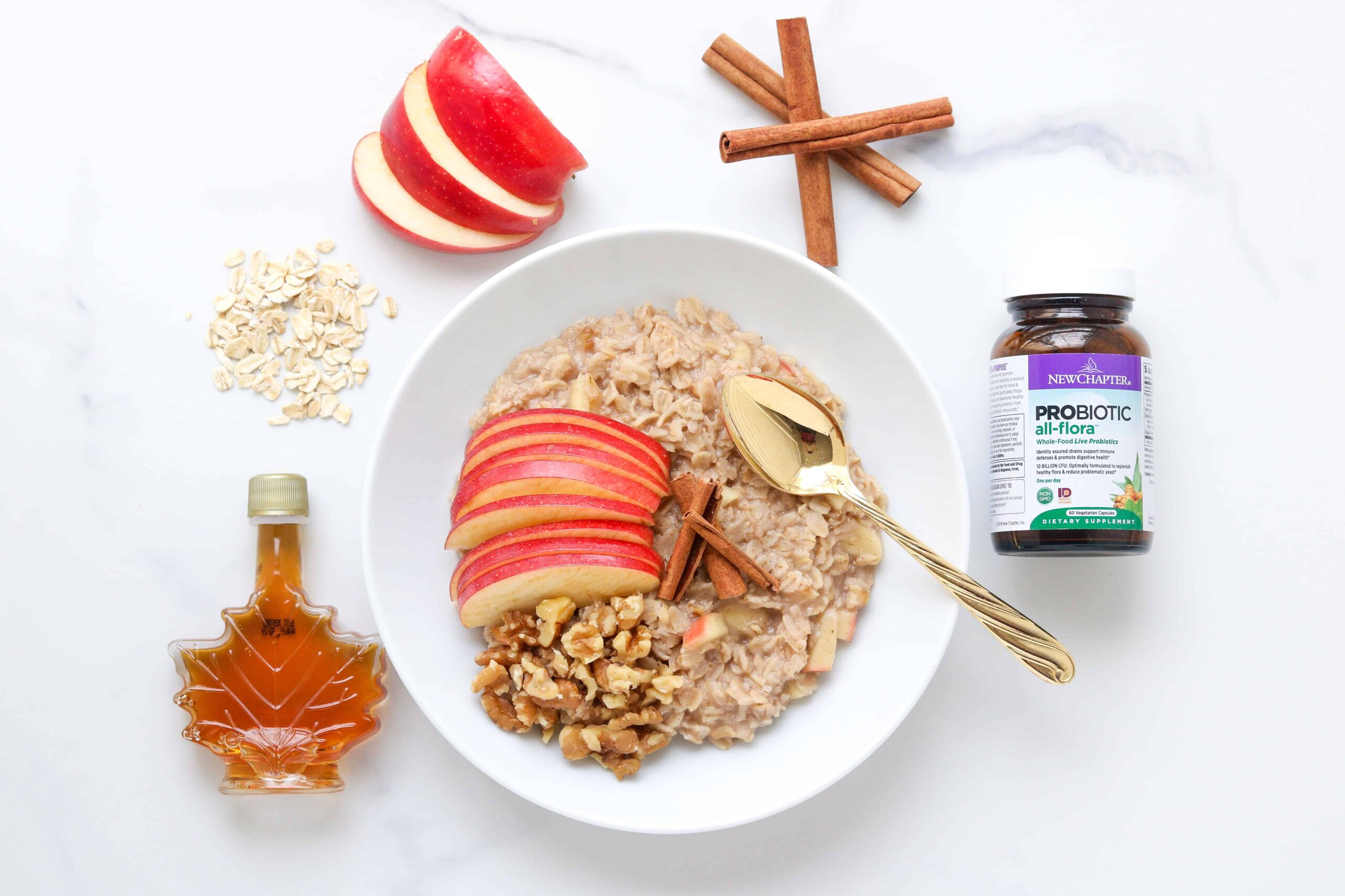 Apple Pie Oatmeal + The Benefits of Probiotics in Total Health @shawsimpleswaps #probiotics #prenbiotics #guthealth