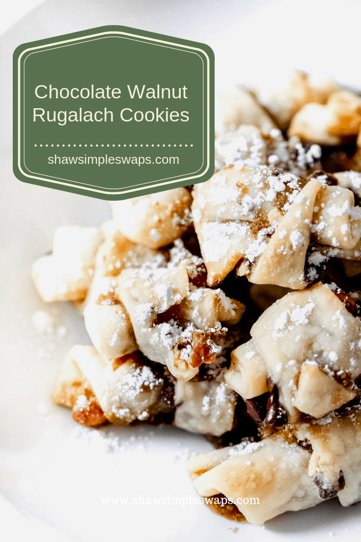Chocolate Walnut Rugalach Cookies @shawsimpleswaps #simpleswaps #holidaybaking #nomesscleanup #healthycookies #healthyholiday #cookieexchange #chocolatecookie