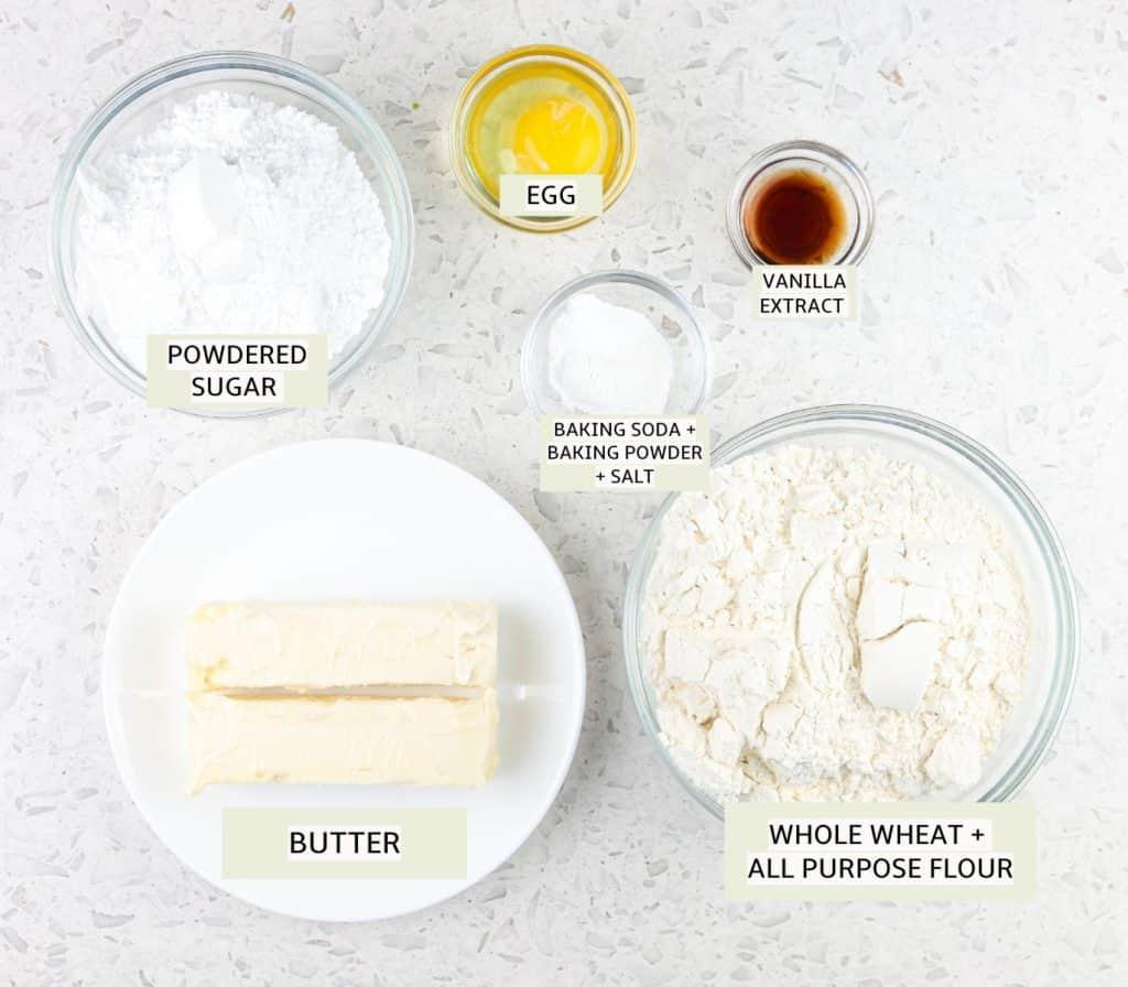Ingredients to make sugar cookies.