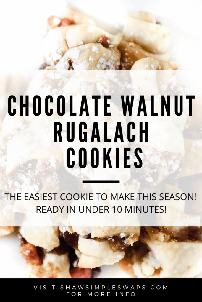 Chocolate Walnut Rugalach Cookies - A simple pie crust cookie that is ready in under 10 minutes! So delicious and easy, it feels sinful to pass off at a cookie exchange! Enjoy! #rugalachcookie #cookieexchange #healthycookies #easycookies
