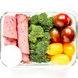 Veggie Box with Pastrami & Horseradish Dip- @shawsimpleswaps #highprotein #meat #proteinsnack #Paleosnack