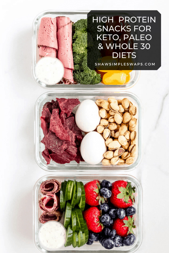 High Protein Snacks - Quick and easy protein rich snacks to prepare from home. Save money and time by making your own! Also, can be modified to be keto, whole 30 and paleo compliant. #highproteinsnacks #ketosnacks #healthysnacks #whole30snacks