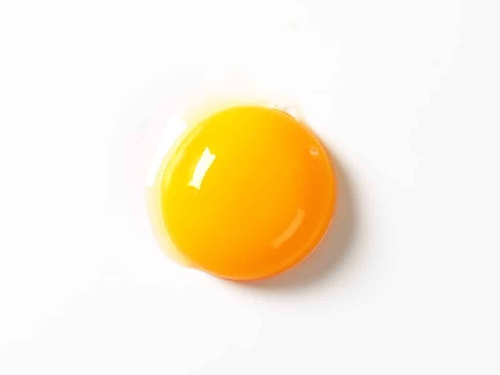 Raw egg yolk on white background