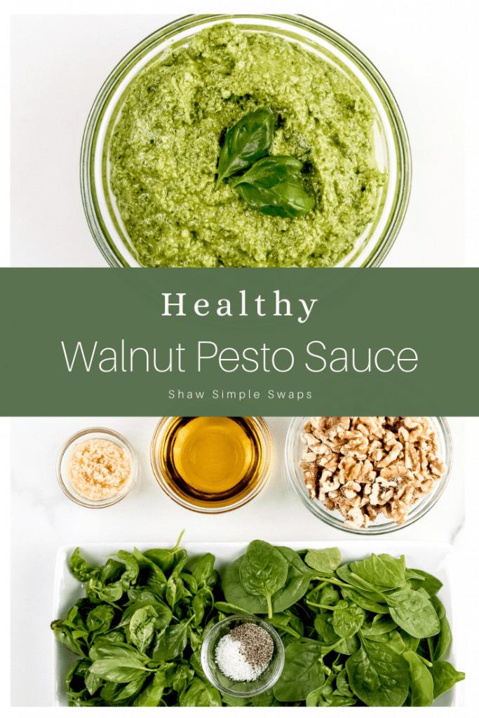 Pinable image of walnut pesto sauce.