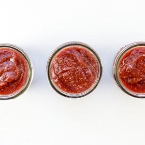 Image of 3 jars of homemade jam in a row.