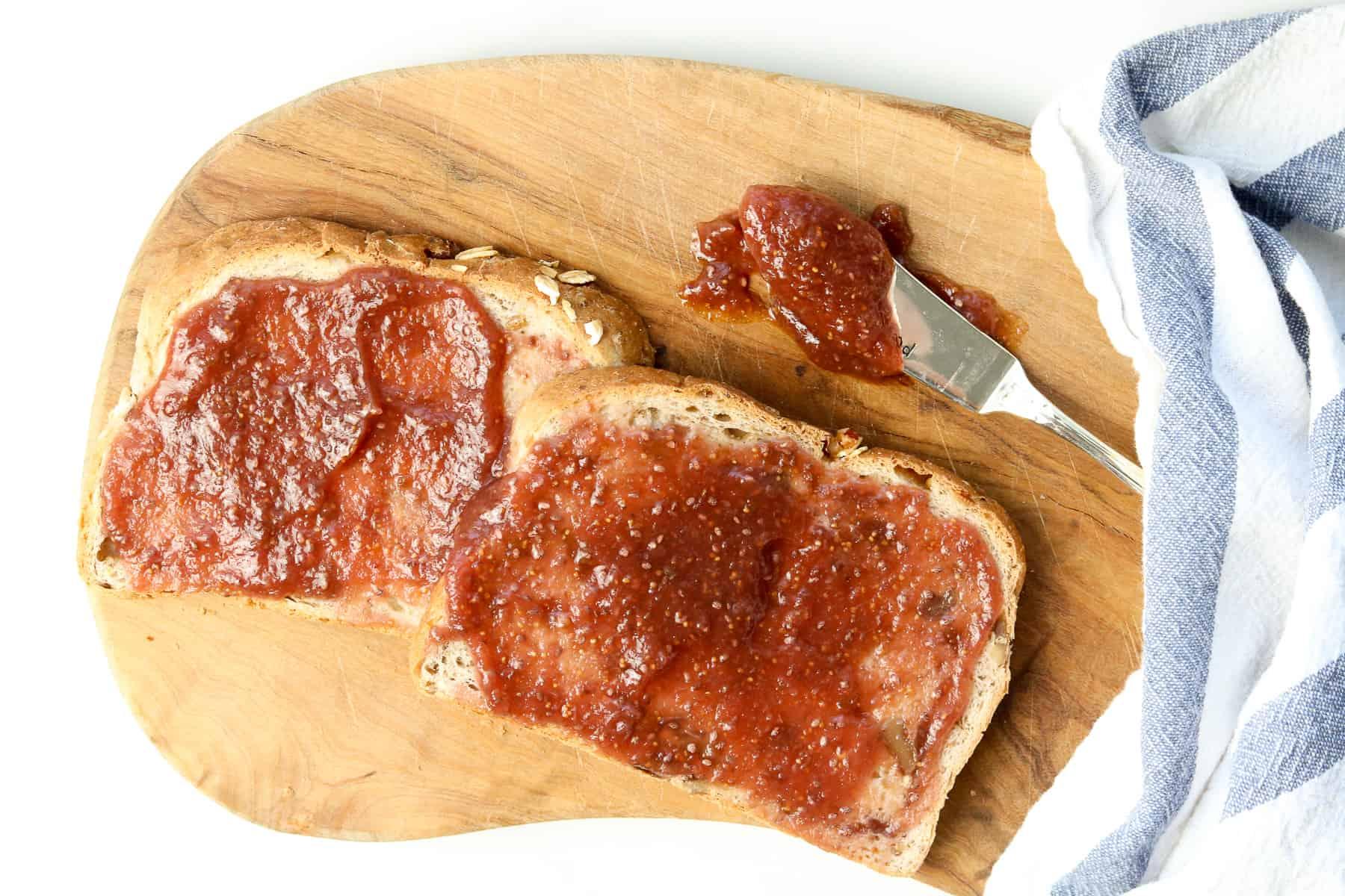 Image of homemade fig jam on toast.