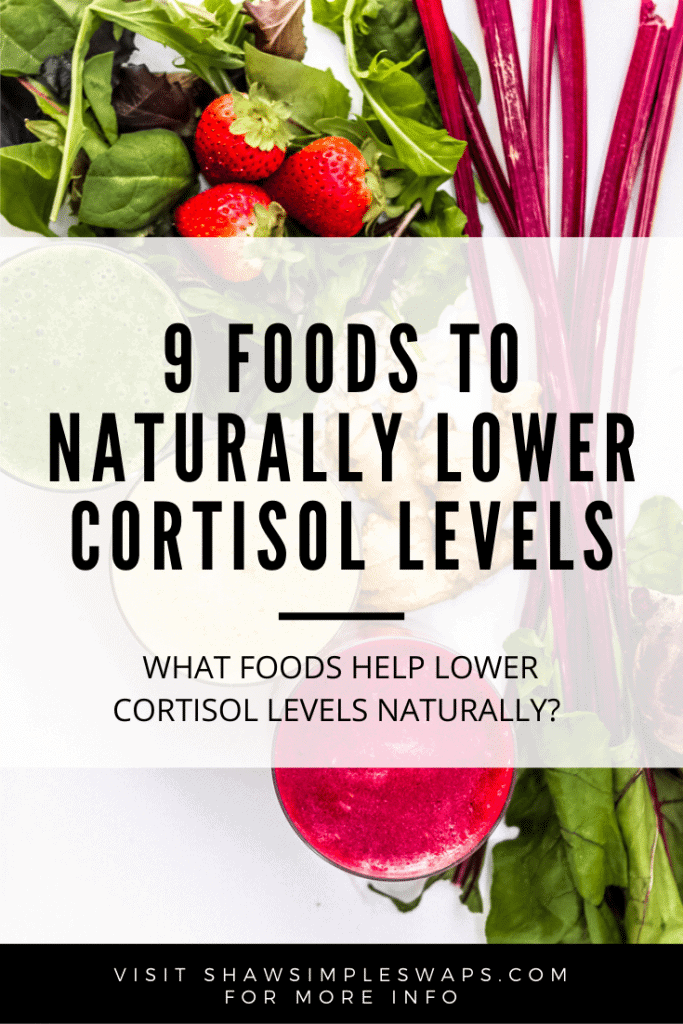 9 Foods to Lower Cortisol Levels - Use whole foods to help reduce your stress hormone levels to promote weight loss, heart-health and more! #foodstoreducestress #lowercortisolwithfood #cortisolandfood