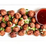 Air Fryer Meatballs - a healthy appetizer to enjoy for a crowd! #airfryerrecipes #airfryermeatballs