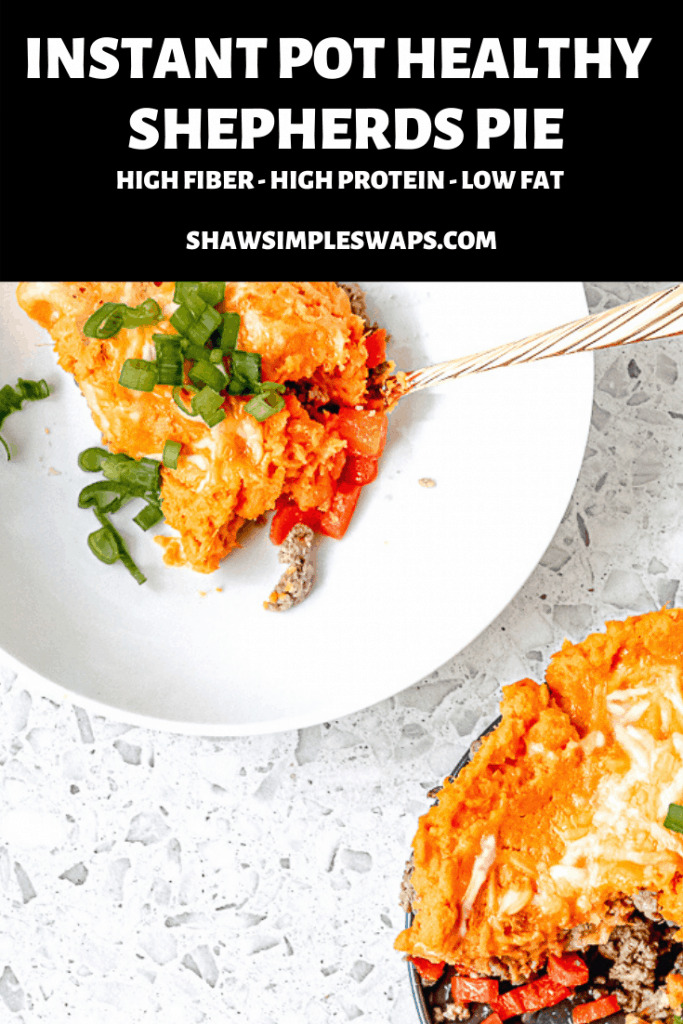 Filling, satisfying, and simple to make, this Healthy Shepherds Pie with Sweet Potato is the perfect family friendly meal. Easy to swap with ingredients you have on hand, and perfect for leftovers, you won't regret making this tonight. Plus, this recipe freezes great for a freezer friendly meal to pull out anytime. #healthyshepherdspie #shepherdspie #instantpotrecipes #shepherdspiehealthy