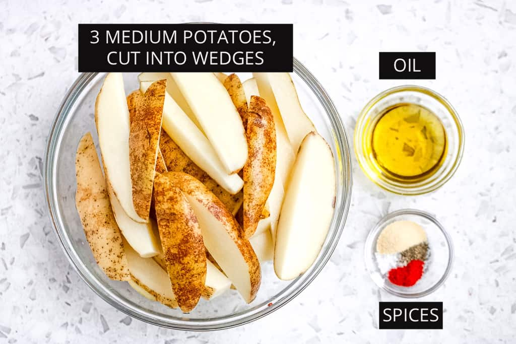 Ingredients for the air fryer potato wedges.