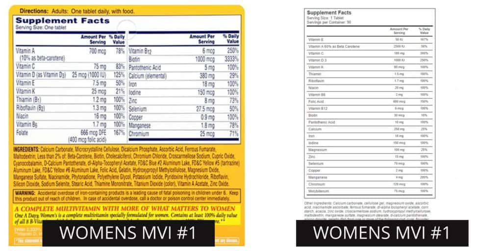 Picture of side by side comparison of two womens supplements.