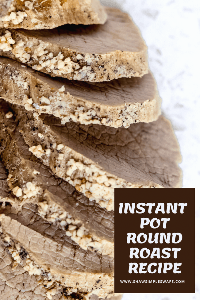 Pinable image of sliced round roast with title text.